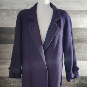 EUC vintage purple tweed wool long trench coat